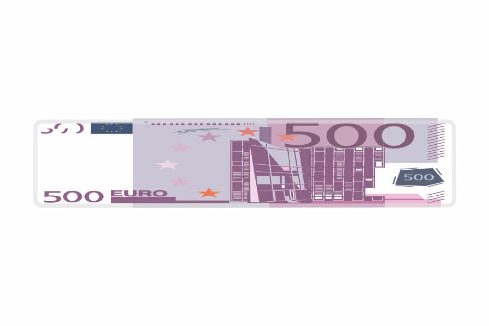 Schild 500 EUR 520 x 110 x 1 mm