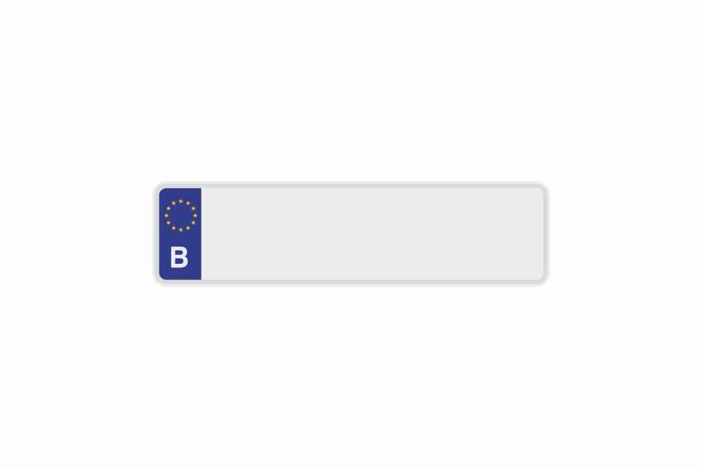 Schild Euro B / Belgien weiß reflex 340 x 90 x 1 mm