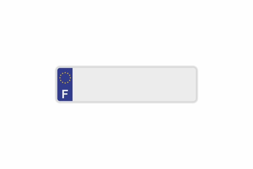 Schild Euro F / Frankreich weiß reflex 340 x 90 x 1 mm