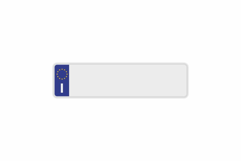 Schild Euro I / Italien weiß reflex 340 x 90 x 1 mm
