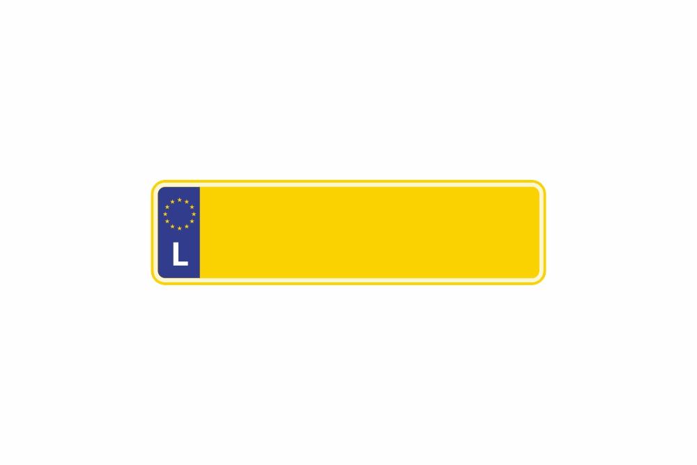 Schild Euro L / Luxemburg gelb reflex 340 x 90 x 1 mm