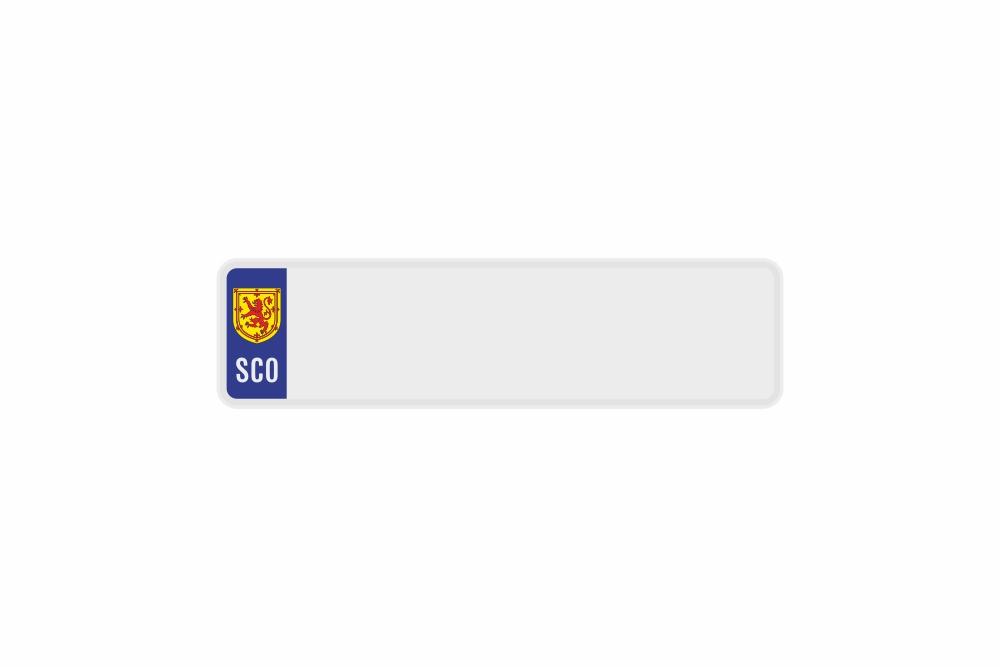 Schild SCO / Schottland Wappen weiß reflex 340 x 90 x 1 mm