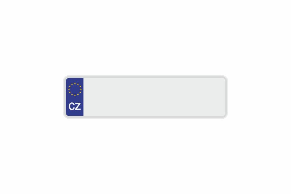 Schild Euro CZ / Tschechische Republik weiß reflex 340 x 90 x 1 mm