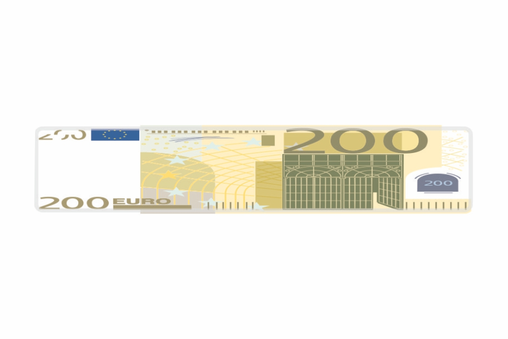 Schild 200 EUR 520 x 110 x 1 mm