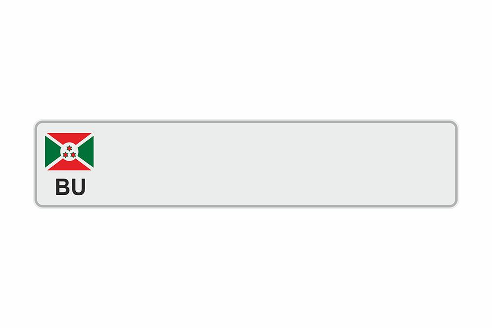 Schild BU / Burundi weiß reflex 520 x 110 x 1 mm