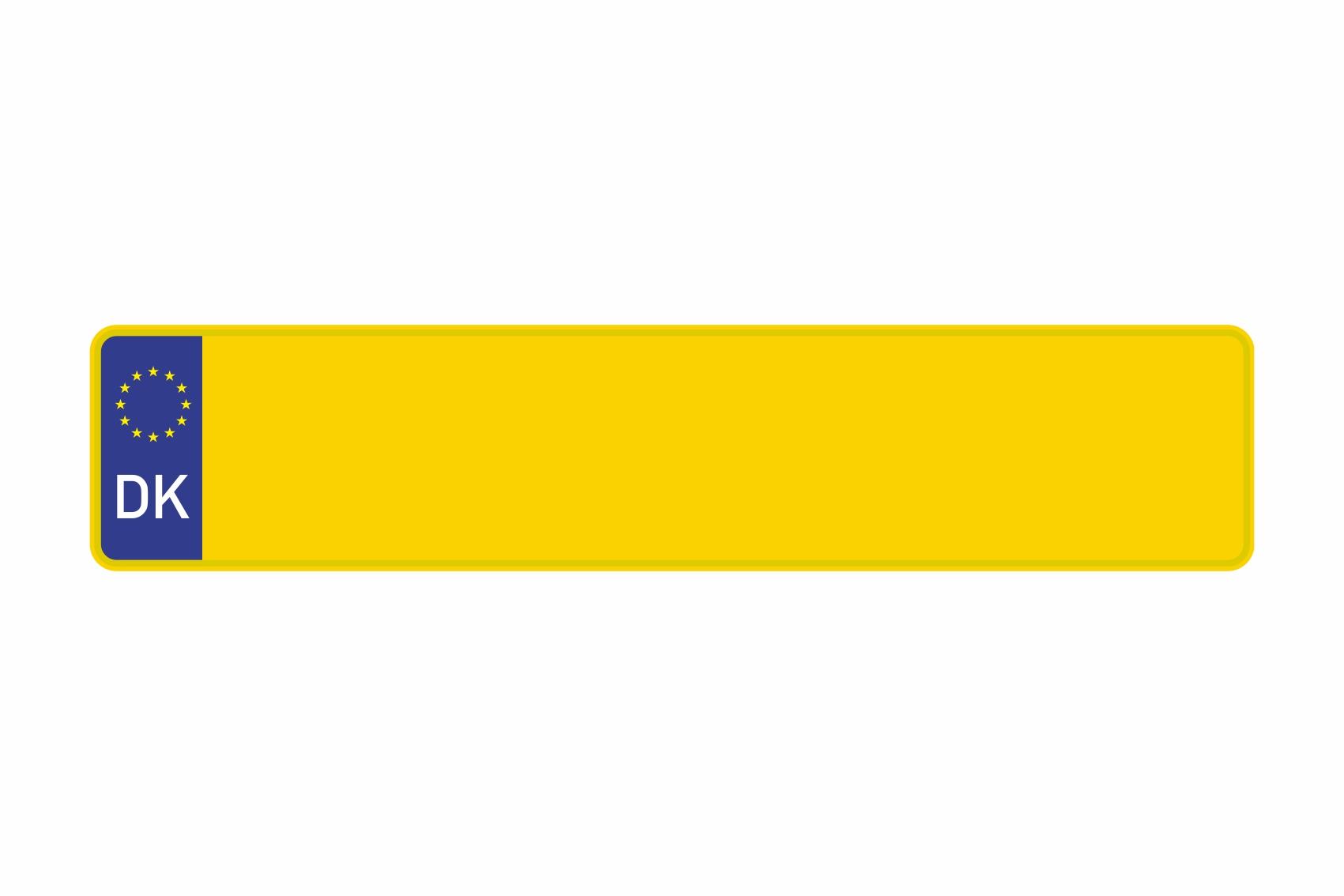 Schild Euro DK / Dänemark gelb reflex 520 x 110 x 1 mm