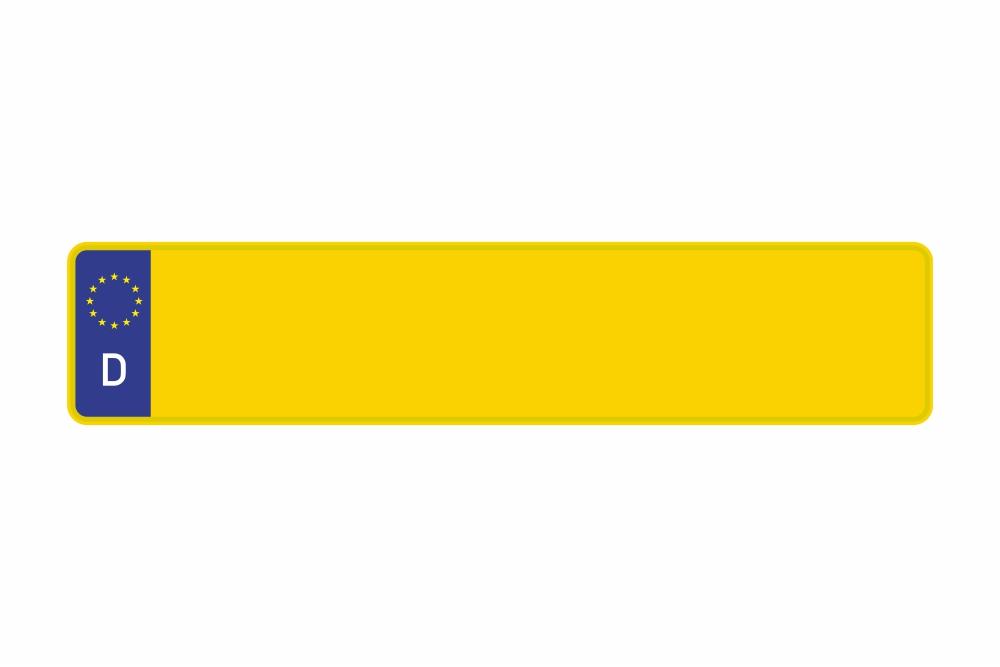 Schild Euro D / Deutschland gelb reflex 520 x 110 x 1 mm