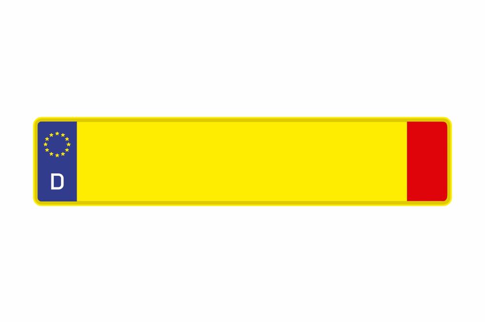 Schild Euro D gelb reflex 520 x 110 x 1 mm