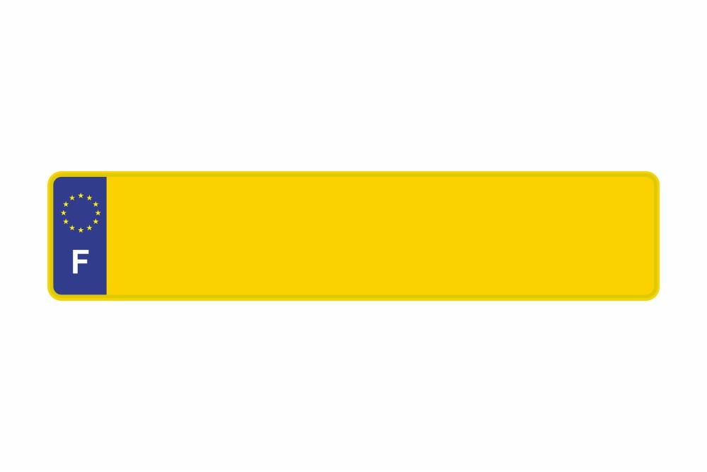 Schild Euro F / Frankreich gelb reflex 520 x 110 x 1 mm