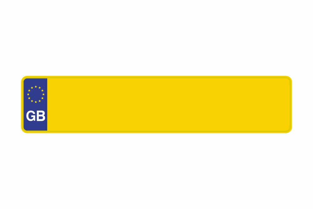 Schild Euro GB / Großbritanien gelb reflex 520 x 110 x 1 mm