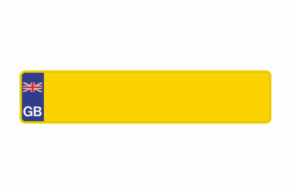 Schild GB / Großbritanien gelb reflex 520 x 110 x 1 mm